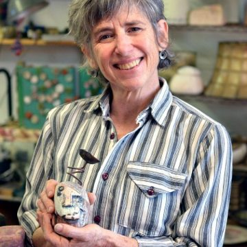 Asheville ceramic artist Lisa Gluckin in her Grovewood Village studio.