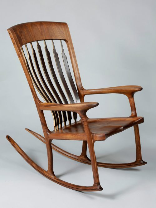 """Maloof-style"" wooden rocking chair by North Carolina woodworker Joe Godfrey."