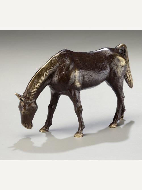 Solid bronze Grazing Mare sculpture handcrafted by Scott Nelles.