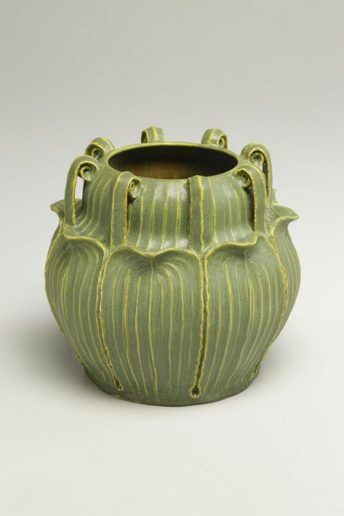 Sculpted earthenware vessel by studio potter Jonathan White.