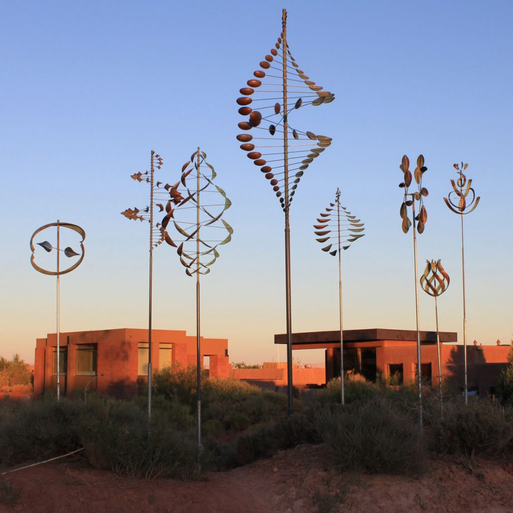 Grouping of Lyman Whitaker Wind Sculptures in the desert.