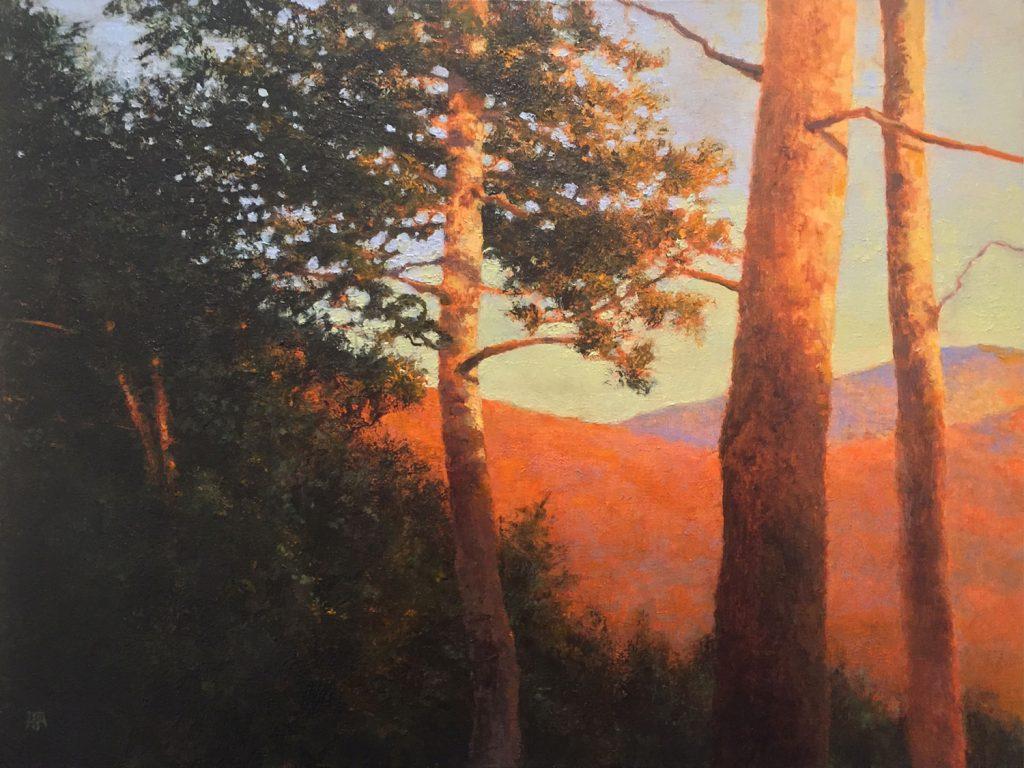 Landscape oil painting by artist Shawn Krueger titled Daybreak: Hot Springs.
