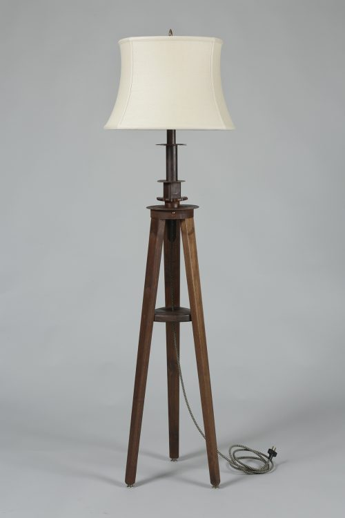 Metal floor lamp handcrafted by Asheville artist Kim Dryden.