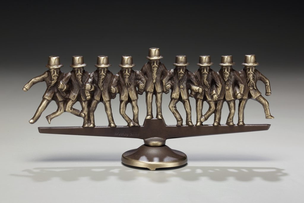 Dancing Rabbis Menorah in bronze by Scott Nelles.