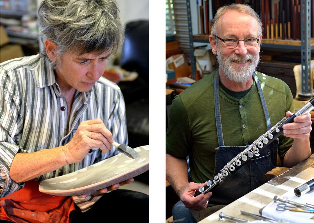 Grovewood Village artists Lisa Gluckin and Chris Abell at open studio art tour event.