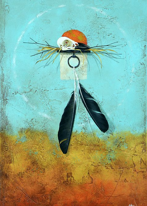 Fine art painting titled Raven Requiem by Brad Stroman available at Grovewood Gallery.