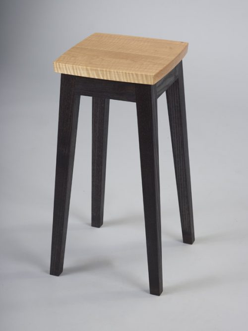 Handcrafted curly maple side table by furniture maker Robb Helmkamp.