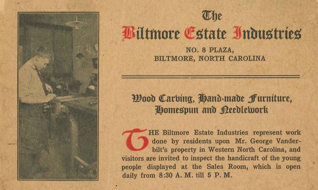 Early advertisement for Biltmore Estate Industries in Asheville, NC.