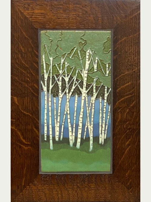 Ceramic birch trees art tile wall hanging handcrafted by Jonathan White.