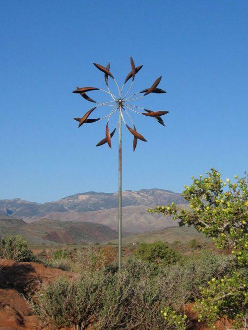 Double Spinner Wind Sculpture by Utah artist Lyman Whitaker.