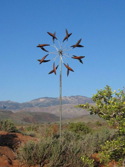 Double Spinner Wind Sculpture by Utah artist Lyman Whitaker.