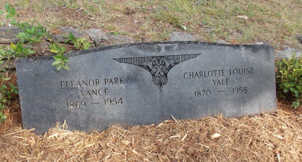 Gravesite of Eleanor Park Vance and Charlotte Louise Yale in Tryon, NC.