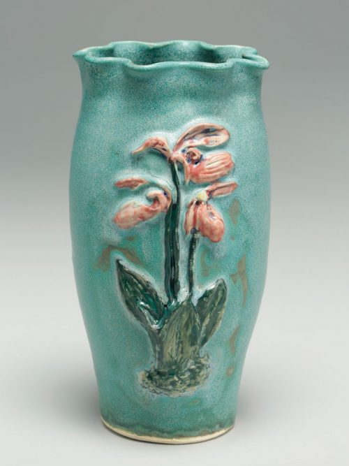 Stoneware vase featuring a lady slipper, hand-thrown by John and Scottie Post of Hog Hill Pottery.