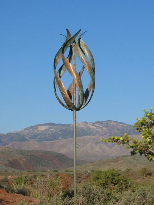 Copper Desert Flame Wind Sculpture handcrafted by Utah artist Lyman Whitaker.