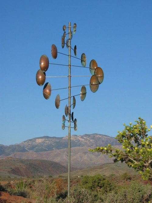 Double Helix Vertical Wind Sculpture by Lyman Whitaker.