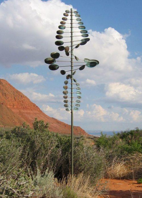 Kinetic Twister Oval Wind Sculpture by Utah artist Lyman Whitaker.