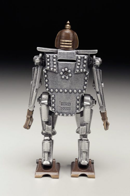Aluminum and bronze robot coin bank handcrafted by Scott Nelles.