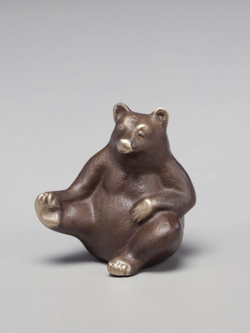 Mama bear bronze sculpture handcrafted by Scott Nelles.