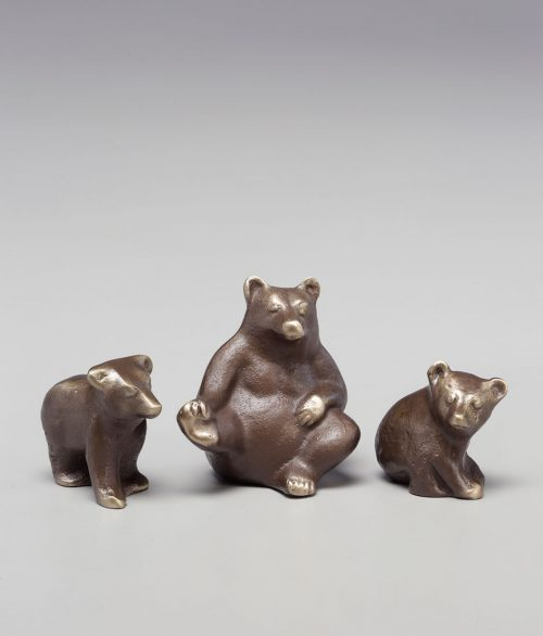Bronze sculptures of a mama bear and two cubs handcrafted by Scott Nelles.