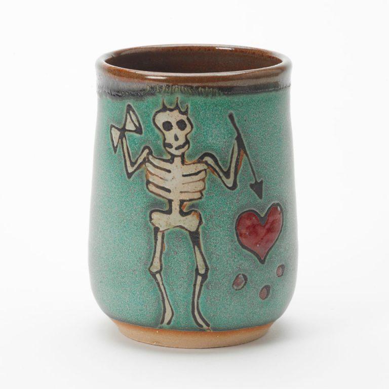 Blackbeard pirate cup handmade by Hog Hill Pottery in North Carolina.