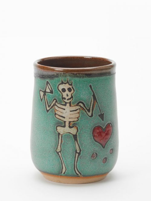 Black Beard pirate pottery cup handmade by Hog Hill Pottery in North Carolina.