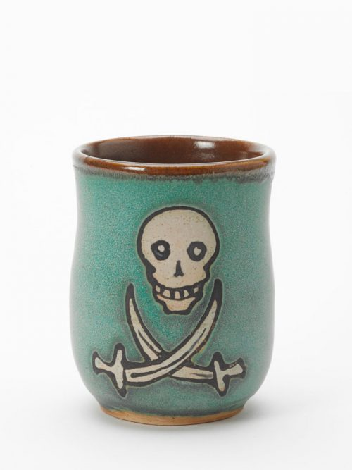 Calico Jack ceramic pirate cup handmade by Hog Hill Pottery.