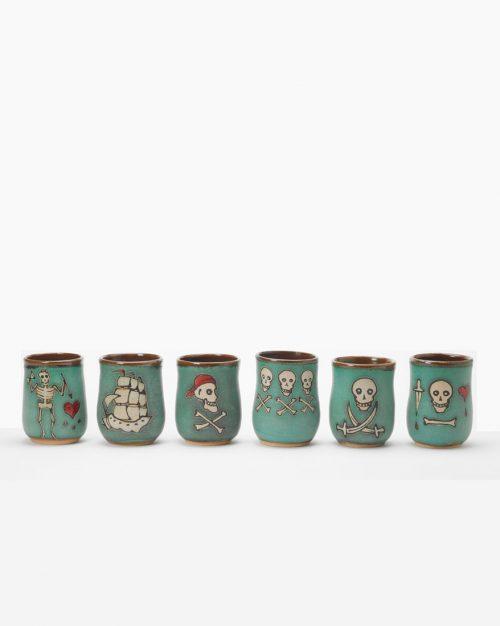 Set of 6 Hog Hill Pottery ceramic pirate cups.