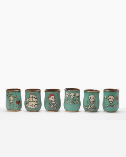 Set of 6 Hog Hill Pottery ceramic pirate cups.