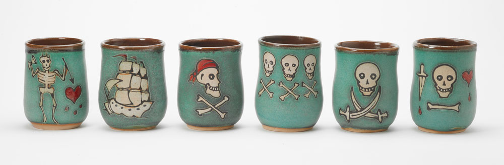 Six ceramic pirate cups handcrafted by Hog Hill Pottery.