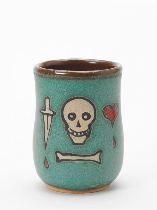 Pottery pirate cup handmade by Hog Hill Pottery featuring the flag of Stede Bonnet.