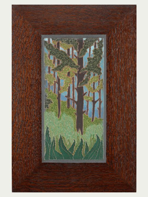 Framed ceramic art tile of spruce pines by Jonathan White.