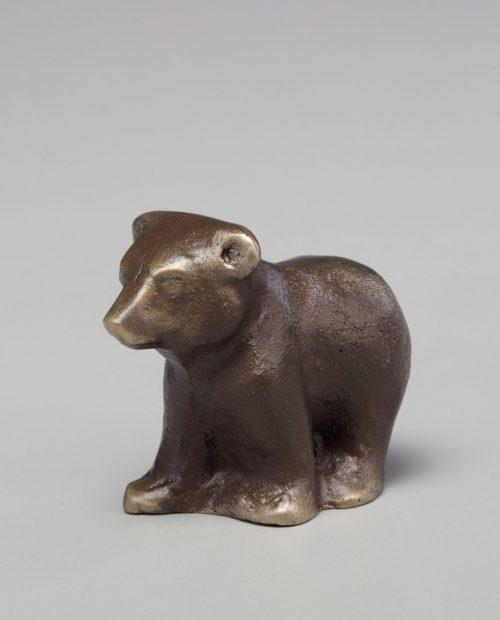 Bronze sculpture of a bear cub handcrafted by Scott Nelles.