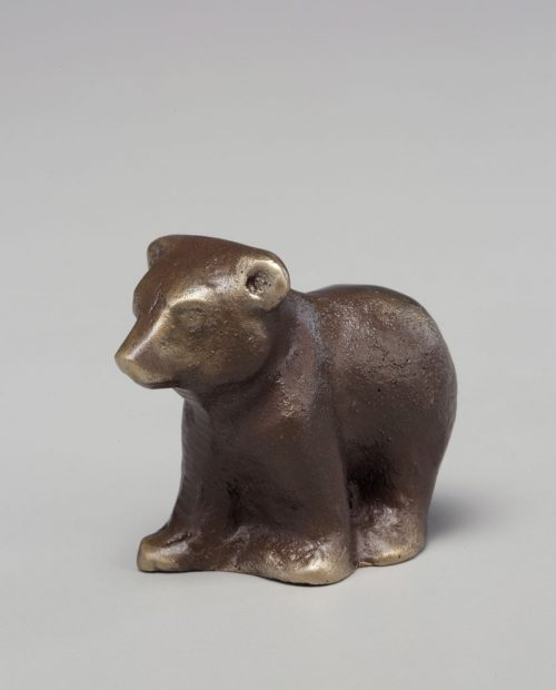 Bronze sculpture of a bear cub handcrafted by Scott Nelles.