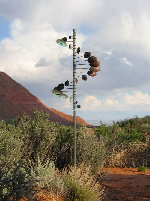 Single Helix Oval Wind Sculpture by Lyman Whitaker.