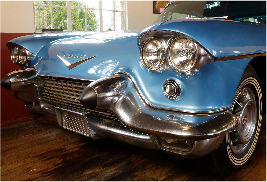 1957 Cadillac Eldorado Brougham on display in the Antique Car Museum at Grovewood Village.