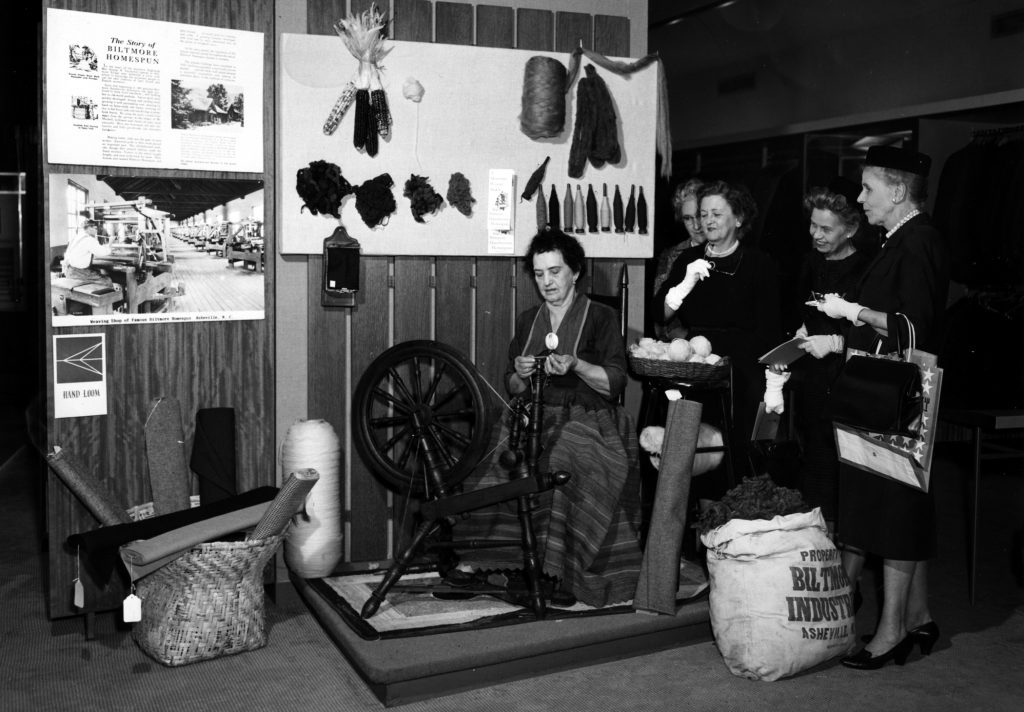 Archival photo of Biltmore Industries' spinning display at Neiman Marcus in Dallas, Texas.