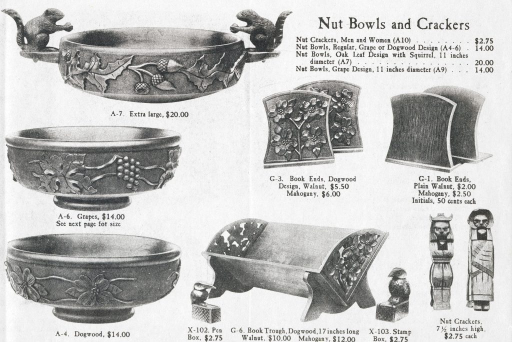 A page from an early Biltmore Estate Industries catalog featuring examples of their woodwork and carvings.