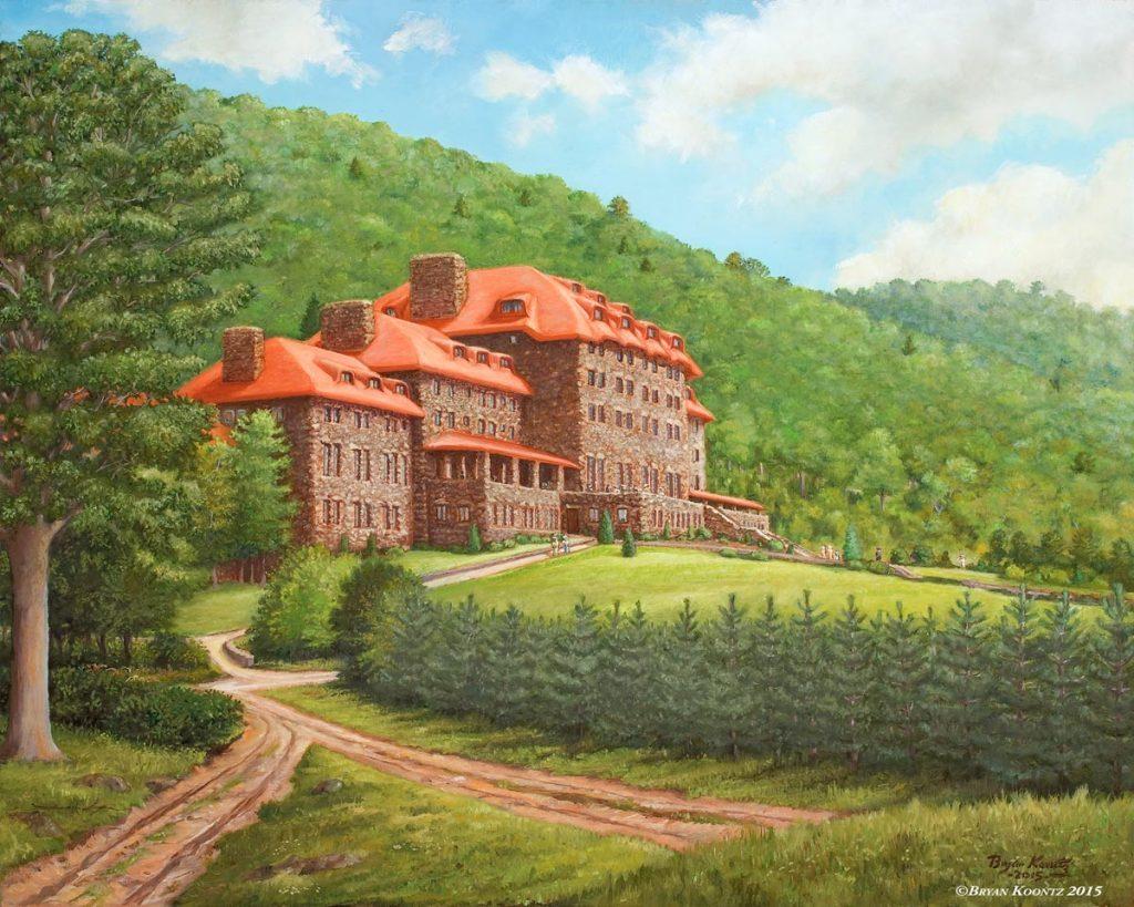 Fine art print of a painting of the Grove Park Inn by Bryan Koontz.