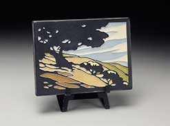 Ceramic Motawi tile available for sale at Grovewood Gallery.