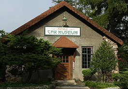 Exterior of the Antique Car Museum at Grovewood Village in Asheville, NC.