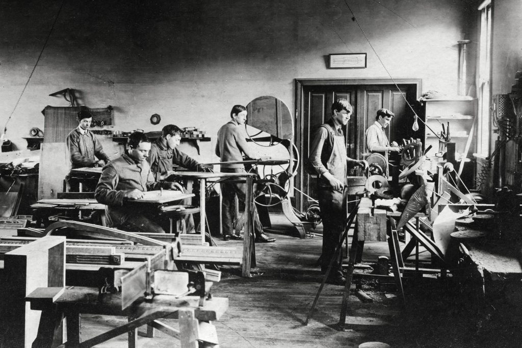 Archival photo of Biltmore Estate Industries' woodworking shop.