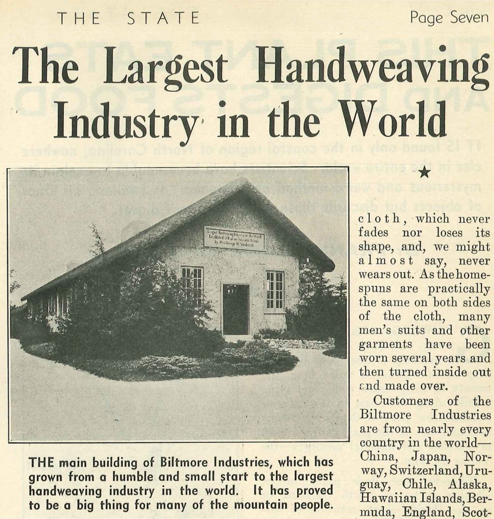 Old newspaper article form The State about Biltmore Industries in Asheville, NC.