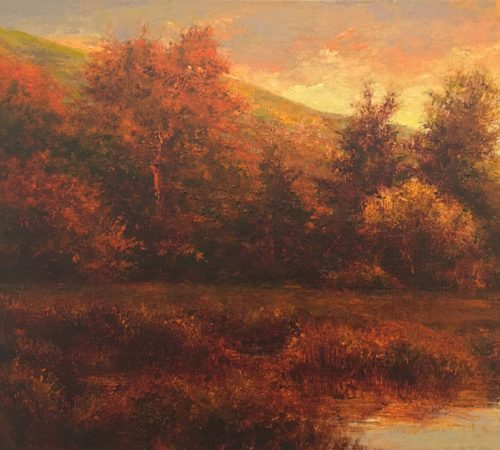 Landscape oil painting titled The Autumn Gothic by Shawn Krueger.