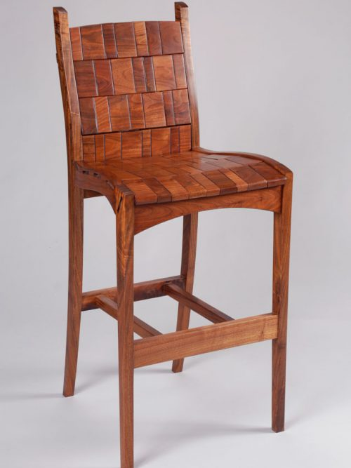 Walnut barstool by Tennessee artist Alan Daigre.