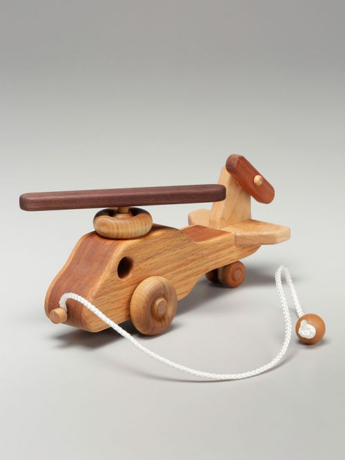 Wooden helicopter pull toy by East Laurel Woodcrafts.