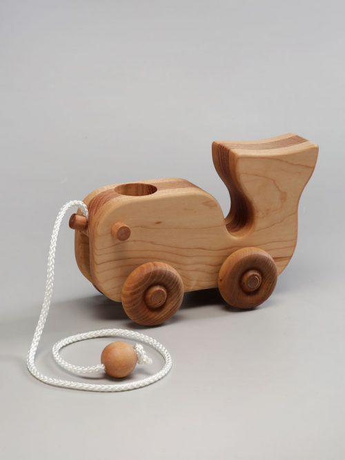 Wooden whale pull toy by East Laurel Woodcrafts.