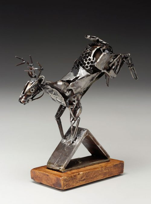 Upcycled metal deer sculpture by North Carolina artist Mel Bennett.