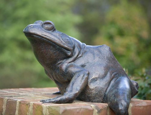 Bronze bullfrog sculpture titled Jeremiah by North Carolina artist Roger Martin.