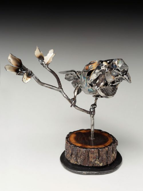 Metal sparrow sculpture by North Carolina artist Mel Bennett.