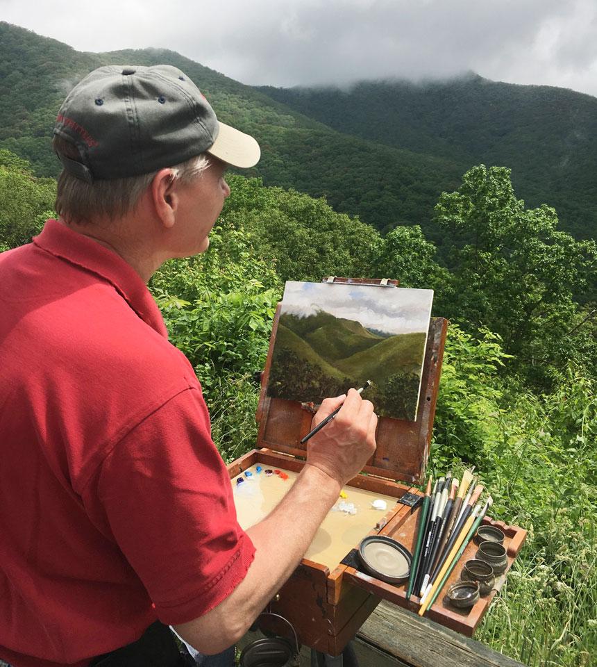 Asheville artist Bryan Koontz plein air painting.